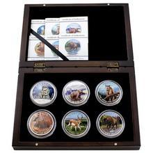Kompletní sada 6 stříbrných kolorovaných mincí 1 Oz Canadian Wildlife 2011 - 2013