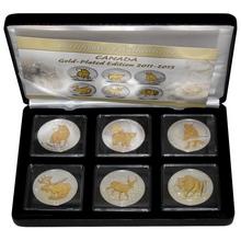 Kompletní sada 6 stříbrných pozlacených mincí 1 Oz Canadian Wildlife 2011 - 2013