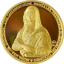 Zlatá čtvrtuncová medaile Leonardo da Vinci a Mona Lisa 2002 Proof