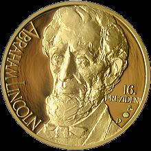 Abraham Lincoln zlatá medaile 2011 1Oz PROOF