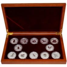 Luxusní sada 12 stříbrných mincí 1 Oz Lunární série I. 1999 - 2010
