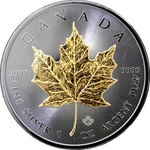 Stříbrná Ruthenium mince pozlacený Maple Leaf Golden Enigma 1 Oz 2015 Standard