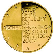 Zlatá čtvrtuncová medaile Vstup ČR do schengenského prostoru 2008 Proof