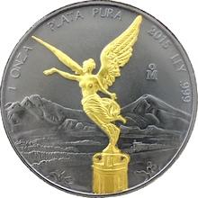 Stříbrná Ruthenium mince pozlacená Mexico Libertad Golden Enigma 1 Oz Standard