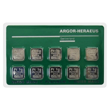 10 x 1g Argor Heraeus SA Švajčiarsko Multicard Investičná platinová tehlička