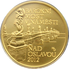 Zlatá minca 5000 Kč Barokný most v Náměšti nad Oslavou 2012 Štandard