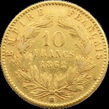 Zlatá mince 10 Frank Napoleon III. 1862