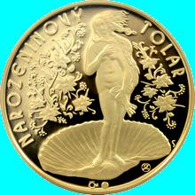 Narozeninový tolar v luxusní dřevěné krabičce Pozlacená medaile Proof
