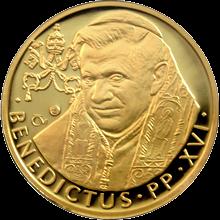 Zlatá půluncová medaile Papež Benedikt XVI. v ČR 2009 Proof