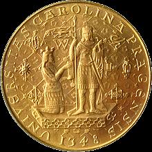 Zlatá mince Karel IV. Pětidukát Československý 600. výročí úmrtí 1978