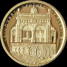 Zlatá minca 2500 Kč Pivovar v Plzni 2008 Proof