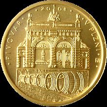 Zlatá minca 2500 Kč Pivovar v Plzni 2008 Štandard