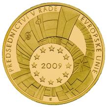 Zlatá půluncová medaile Předsednictví ČR v Radě EU 2009 Proof
