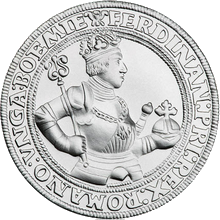 Návrh českého tolaru Ferdinanda 1. stříbrná medaile 2009 42 g Standard