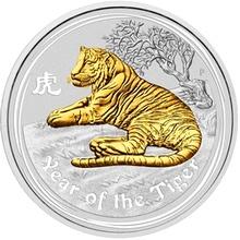 Stříbrná mince pozlacený Year of the Tiger Rok Tygra Lunární 1 Oz 2010 Standard