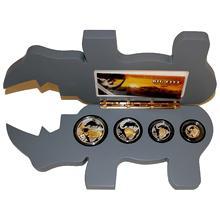 Nosorožci Big Five Sada stříbrných pozlacených mincí 2013 Proof
