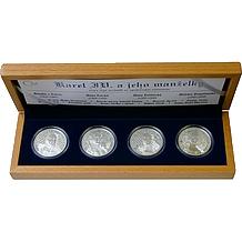Sada stříbrných medailí Karel IV. a jeho manželky 2008 Proof
