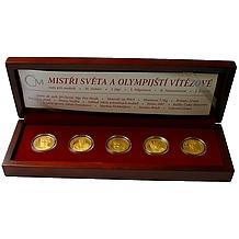Sada 5 zlatých medailí Mistři světa a Olympijští vítězové 2007 Proof