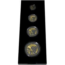 Slon africký Golden Enigma Sada stříbrných Ruthenium mincí 2015 Standard