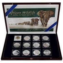 African Wildlife Slon africký Sada stříbrných mincí 2004 - 2014 Proof