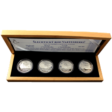 Sada 4 strieborných medailí Šľachtický rod Vartenberkov 2012 Proof