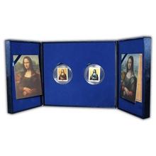 Mona Lisa Louvre a Prado Sada stříbrných mincí 2012 Drahokamy Proof