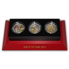Sada stříbrných mincí Rok Hada 3D Pavé 2013 Krystaly Proof