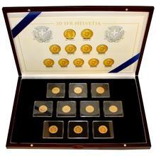 Sada 10 raritních zlatých mincí 20 Frank Helvetia - Libertas 1883 - 1896