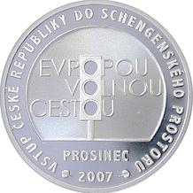 Stříbrmá medaile Vstup ČR do Schengenského prostoru 2008 Proof