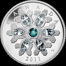 Stříbrná mince Sněhová vločka Smaragd 2011 Proof (.9999)