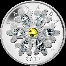 Stříbrná mince Sněhová vločka Topaz 2011 Proof (.9999)