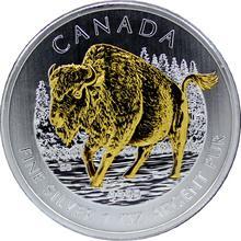 Stříbrná mince pozlacený Bizon lesní Canadian Wildlife 1 Oz 2013 Standard