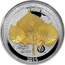 Stříbrná mince 3D Zlatý Linden Leaf 1 Oz Gold Leaf Collection 2015 Proof