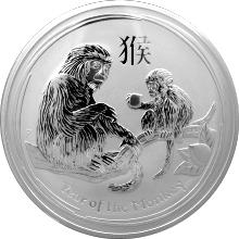 Strieborná investičná mincaYear of the Monkey Rok Opice Lunárny 1 Kg 2016