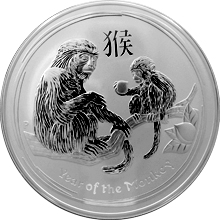 Stříbrná investiční mince Year of the Monkey Rok Opice Lunární 10 Oz 2016