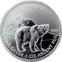 Stříbrná investiční mince Grizzly Canadian Wildlife 1 Oz 2011