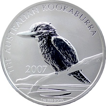 Stříbrná investiční mince Kookaburra Ledňáček 1 Oz 2007