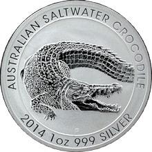 Stříbrná investiční mince Krokodýl mořský 1 Oz 2014