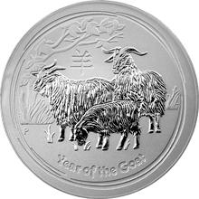 Stříbrná investiční mince Year of the Goat Rok Kozy Lunární 10 Kg 2015