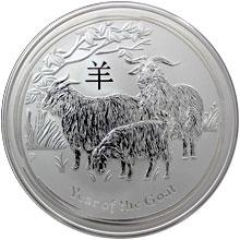 Stříbrná investiční mince Year of the Goat Rok Kozy Lunární 10 Oz 2015