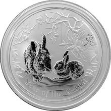 Stříbrná investiční mince Year of the Rabbit Rok Králíka Lunární 5 Oz 2011