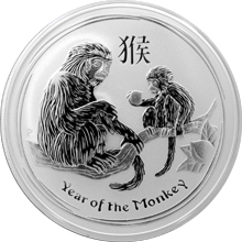 Strieborná investičná minca Year of the Monkey Rok Opice Lunárny 2 Oz 2016