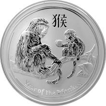 Stříbrná investiční mince Year of the Monkey Rok Opice Lunární 5 Oz 2016
