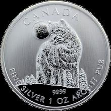 Stříbrná investiční mince Vlk Canadian Wildlife 1 Oz 2011
