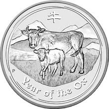 Stříbrná investiční mince Year of the Ox Rok Buvola Lunární 5 Oz 2009