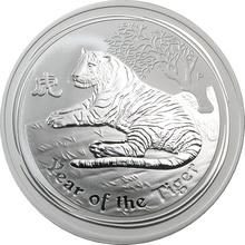 Strieborná investičná minca Year of the Tiger Rok Tigra Lunárny 2 Oz 2010