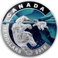 Stříbrná mince Medvěd lední 1 Oz Geometry in Art 2016 Proof (.9999)