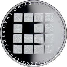 Strieborná minca 200 Kč Vstup Českej republiky do Európskej únie 2004 Proof