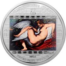 Stříbrná mince 3 Oz Léda s labutí Peter Paul Rubens 2014 Krystaly Proof