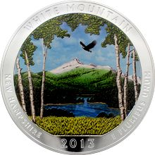 Stříbrná kolorovaná mince 5 Oz America the Beautiful - New Hampshire 2013 Proof